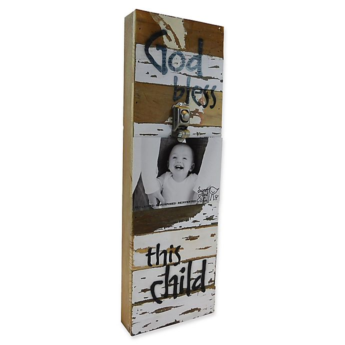 Alternate image 1 for Sweet Bird & Co. God Bless This Child 6-Inch x 18-Inch Reclaimed Wood Clip Frame