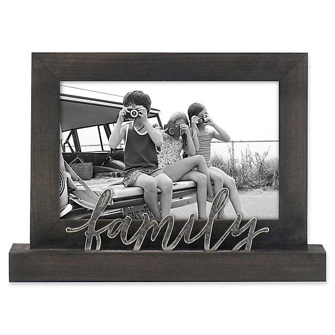 Alternate image 1 for Rustic Joanna Family 4-Inch x 6-Inch Wood Picture Frame in Charcoal