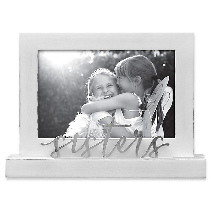 Alternate image 1 for Rustic Joanna Sisters 4-Inch x 6-Inch Wood Picture Frame in White