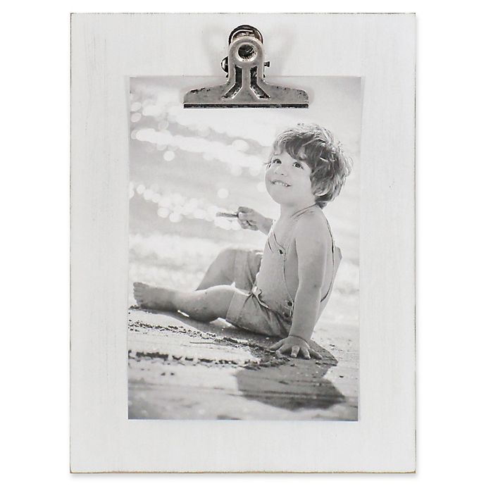 Alternate image 1 for Rustic Clipper 4-Inch x 6-Inch Wood Clip Picture Frame in White