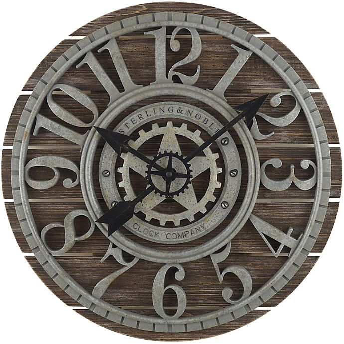 Alternate image 1 for Sterling & Noble™ 23.5-Inch Shiplap Farmhouse Wood Wall Clock