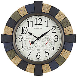 Sterling & Noble Gothic Faux Stone Indoor/Outdoor Wall Clock