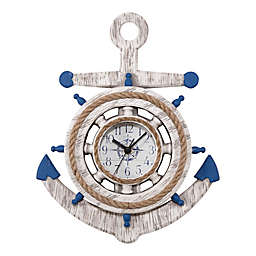 La Crosse Technology 14-Inch Anchor Clock in Weathered White