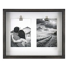 Rustic Gallery Shadowbox 2-Photo 5-Inch x 7-Inch Wood Clip Collage Picture Frame in Charcoal