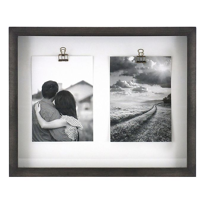 Alternate image 1 for Rustic Gallery Shadowbox 2-Photo 5-Inch x 7-Inch Wood Clip Collage Picture Frame in Charcoal