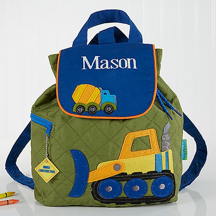 Alternate image 1 for Construction Embroidered Kid's Backpack by Stephen Joseph