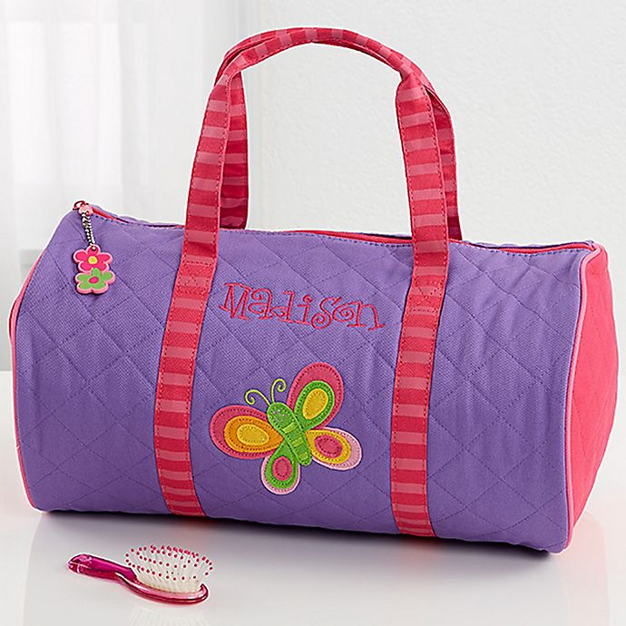 Alternate image 1 for Stephen Joseph® Butterfly Embroidered Duffel Bag in Purple