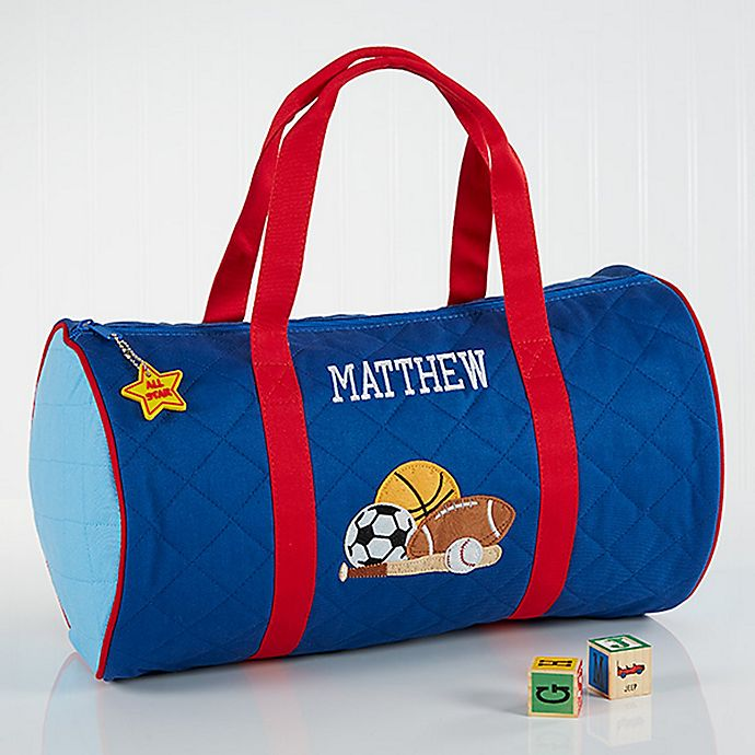 Alternate image 1 for Stephen Joseph® Embroidered All-Star Duffel Bag in Blue