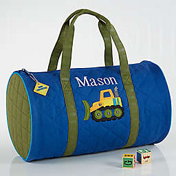 Construction Embroidered Duffle Bag by Stephen Joseph in Blue