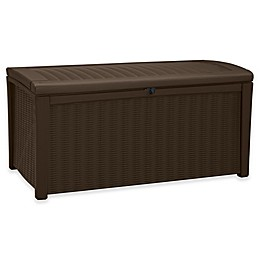 Keter Borneo 71 Gallon Outdoor Plastic Rattan Deck Storage Box in Brown