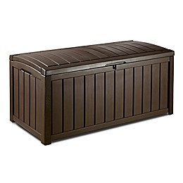 Keter Glenwood 101 Gallon Outdoor Plastic Deck Storage Box in Brown