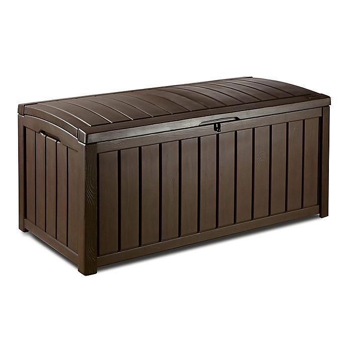 Alternate image 1 for Keter Glenwood 101 Gallon Outdoor Plastic Deck Storage Box in Brown