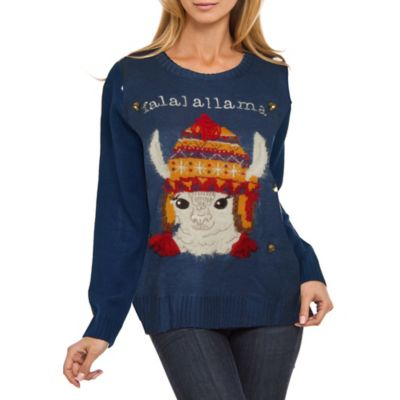 Ugly Christmas Quot Falallama Quot Sweater In Blue Bed Bath Amp Beyond