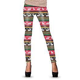 Reindeer Ugly Christmas Leggings in Green/Red/White