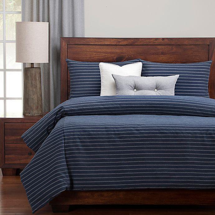 Alternate image 1 for Siscovers® Modern Farmhouse Duvet Cover Set in Blue/Off White