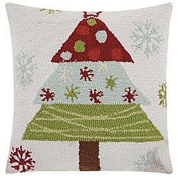 Mina Victory Hook Knit Christmas Tree Square Throw Pillow in White/Red