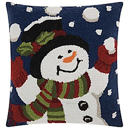 Mina Victory Snowman Snowballs  Square Throw Pillow in White/Blue