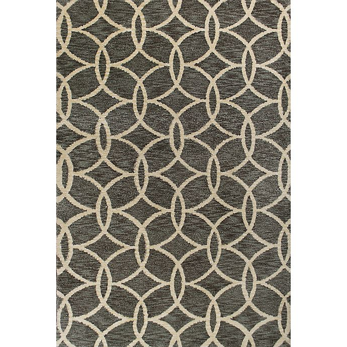 Alternate image 1 for KAS Mission Trellis Circles 9-Foot x 13-Foot Shag Area Rug in Grey