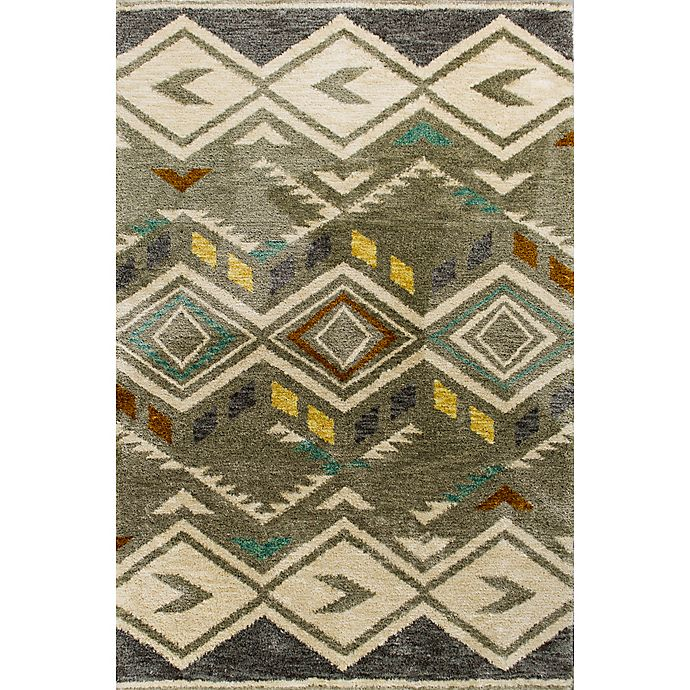 Alternate image 1 for KAS Mission Diamond Tribal 9-Foot x 13-Foot Shag Area Rug in Grey