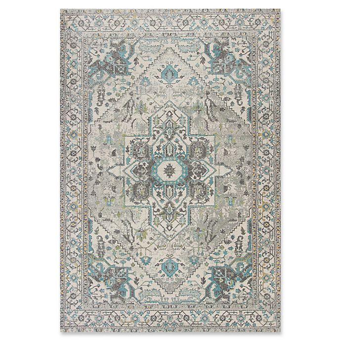 Alternate image 1 for KAS Reina Vintage Medallion 3-Foot 3-Inch x 4-Foot 11-Inch Accent Rug in Grey/Blue