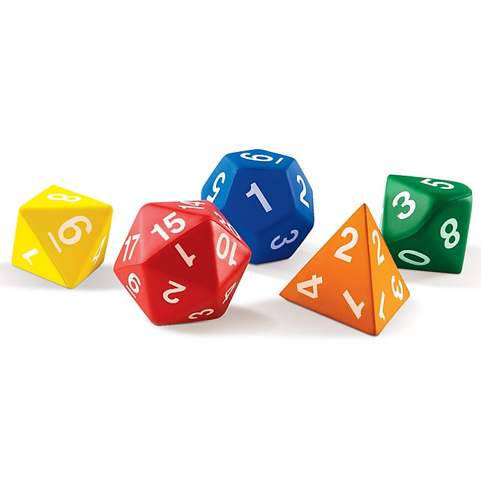 Alternate image 1 for Learning Resources® 5-Piece Jumbo Foam Polyhedral Dice Set