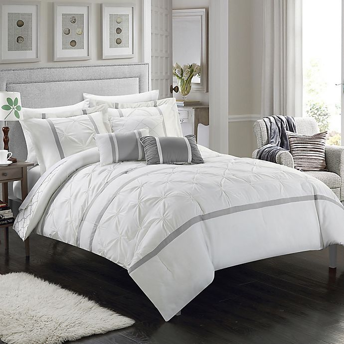 Alternate image 1 for Chic Home Plymouth 10-Piece King Comforter Set in White