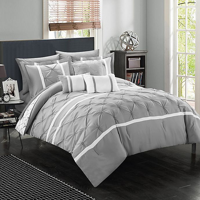 Alternate image 1 for Chic Home Plymouth 10-Piece Queen Comforter Set in Grey