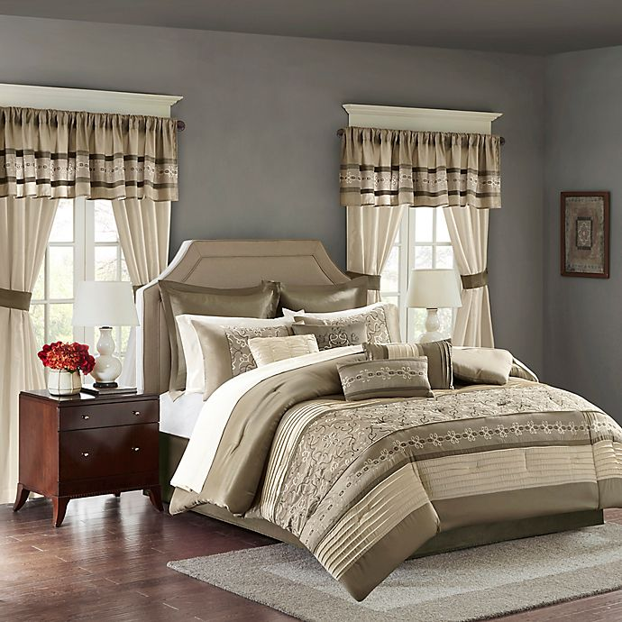 Alternate image 1 for Madison Park Essentials Jelena 24-Piece Queen Comforter Set in Natural