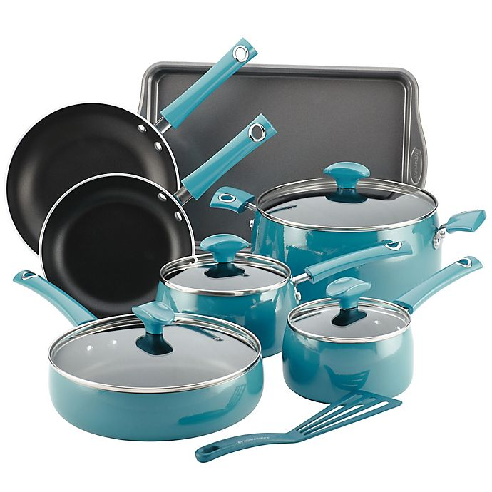 Alternate image 1 for Rachael Ray™ Cityscapes Porcelain Enamel 12-Piece Cookware Set in Turquoise