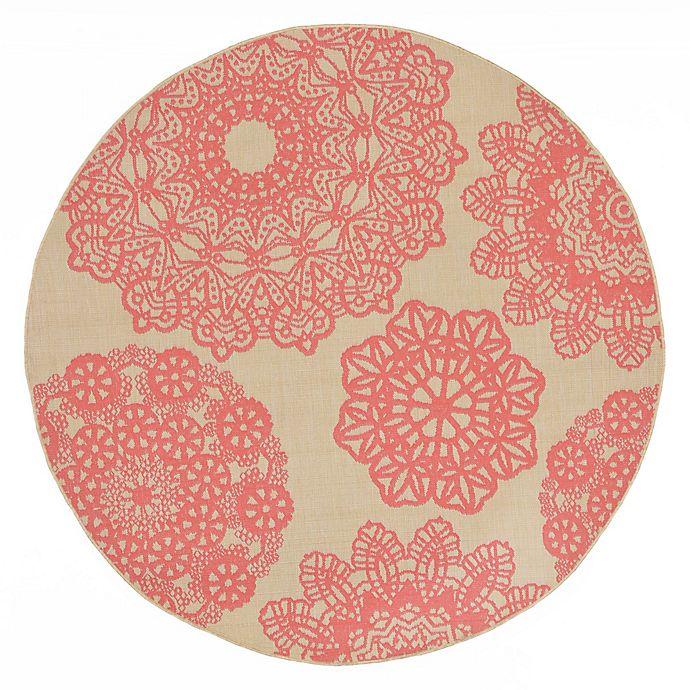 Alternate image 1 for Liora Manne Terrace Crochet 7-Foot 10-Inch Round Indoor/Outdoor Area Rug in Orange