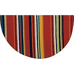 Nourison Everywhere 32-Inch x 19-Inch Half Moon Stripe Kitchen Mat