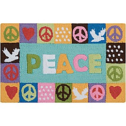Nourison Everywhere 18-Inch x 30-Inch Peace Kitchen Rug in Light Blue