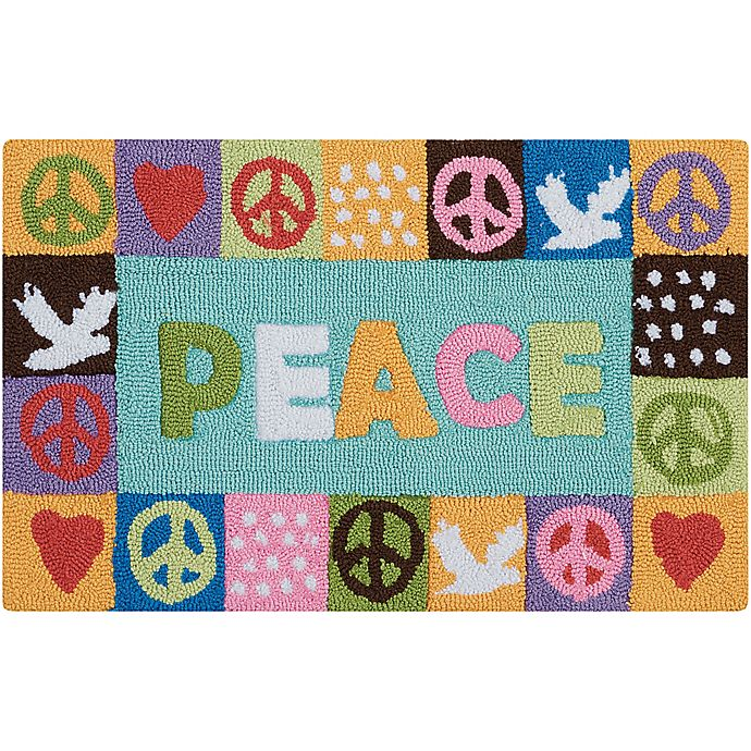 Alternate image 1 for Nourison Everywhere 18-Inch x 30-Inch Peace Kitchen Rug in Light Blue