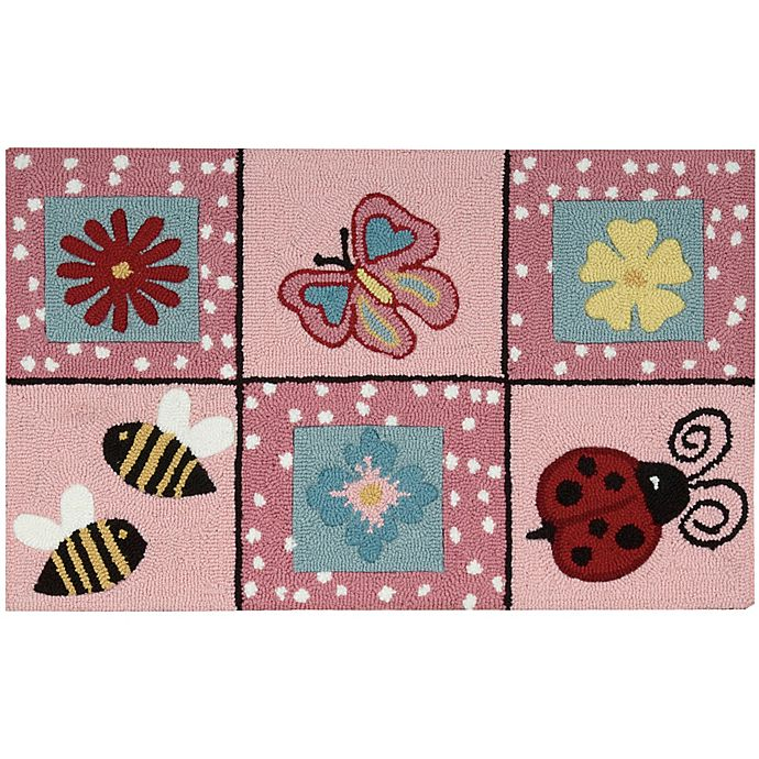 Alternate image 1 for Nourison Everywhere 18-Inch x 30-Inch Floral Kitchen Mat in Pink