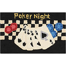 Nourison Everywhere 18-Inch x 30-Inch Poker Night Kitchen Rug in Black