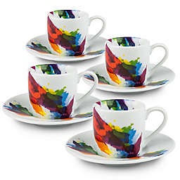 Konitz On Color Espresso Cups and Saucers (Set of 4)