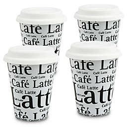 Konitz Café Latte Writing Travel Mugs in White (Set of 4)