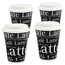 Konitz Café Latte Writing Travel Mugs in Black (Set of 4)