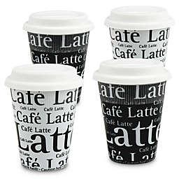 Konitz Café Latte Writing Travel Mugs in Black/White (Set of 4)