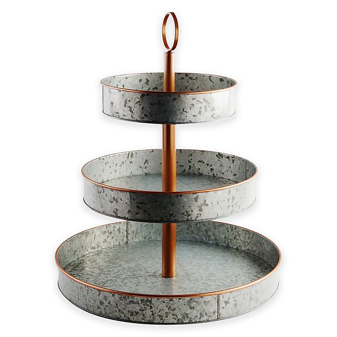 Alternate image 1 for Heritage Home Galvanized Metal and Copper 3-Tier Serving Stand