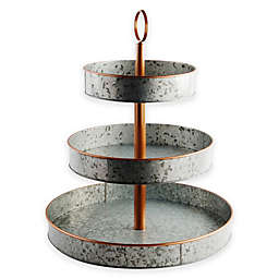 Heritage Home Galvanized Metal and Copper 3-Tier Serving Stand