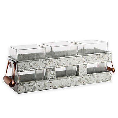 Heritage Home 4-Piece Galvanized Metal and Copper Flatware Caddy Set