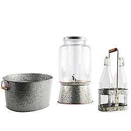Home Essentials Galvanized Metal and Copper Barware Collection