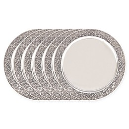Old Dutch International Etched Rim Charger Plates in Silver (Set of 6)