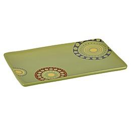 Rachael Ray™ Stoneware Circles & Dots Rectangular Serving Platter in Green