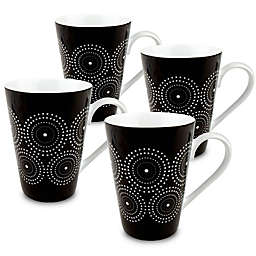 Konitz Burst Mugs in Black/White (Set of 4)