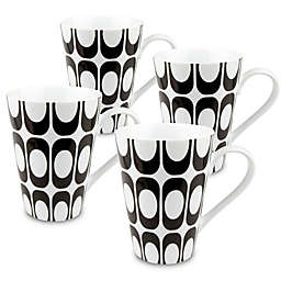 Konitz Groove Mugs in Black/White (Set of 4)