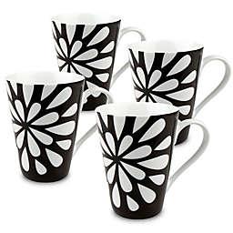 Konitz Bloom Mugs in Black/White (Set of 4)