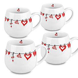 Konitz Ceramic Hearts Snuggle Mugs in White/Red (Set of 4)