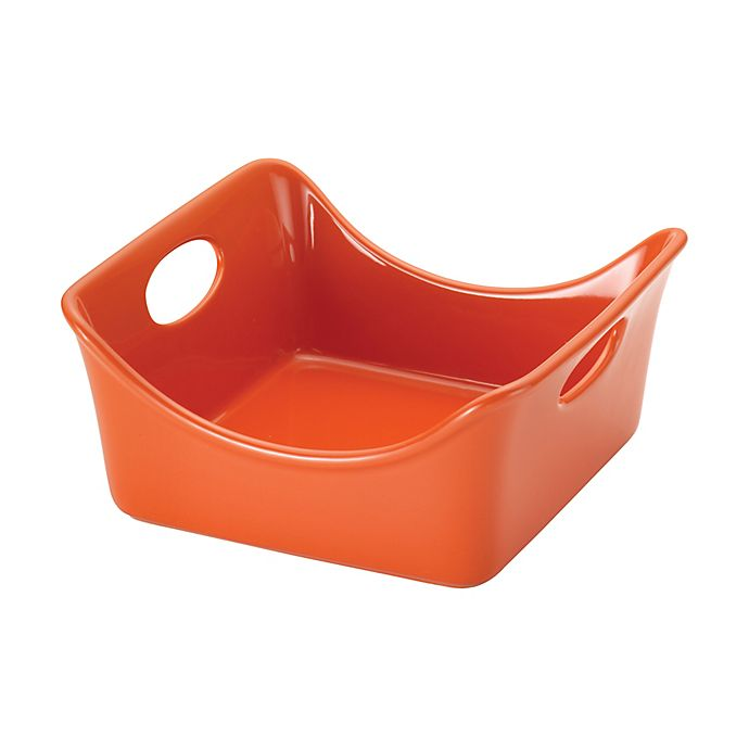 Alternate image 1 for Rachael Ray™ Stoneware 2 qt. Square Baker with Handles in Orange